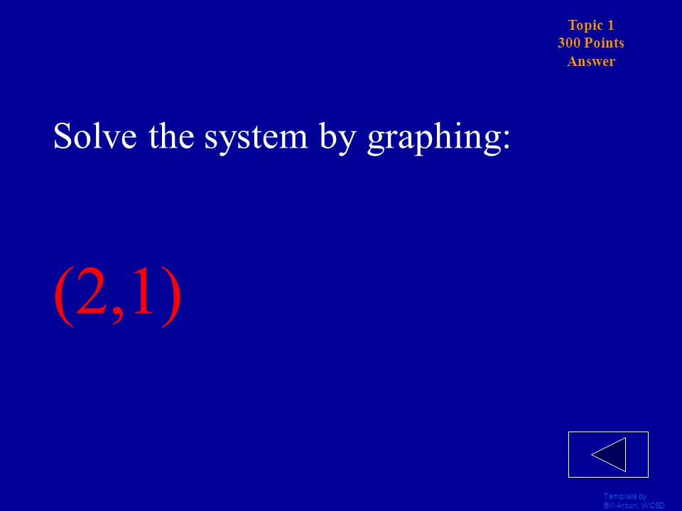 Template by Bill Arcuri, WCSD Topic 1 300 Points Solve the system by graphing: