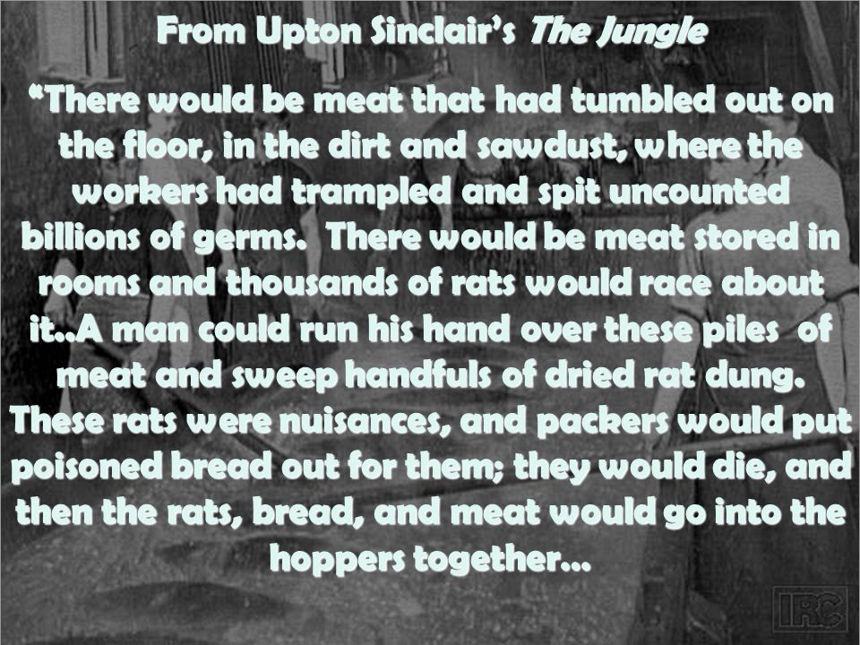 From Upton Sinclair's The Jungle There would be meat that had tumbled out on the floor, in the dirt and sawdust, where the workers had trampled and spit uncounted billions of germs.