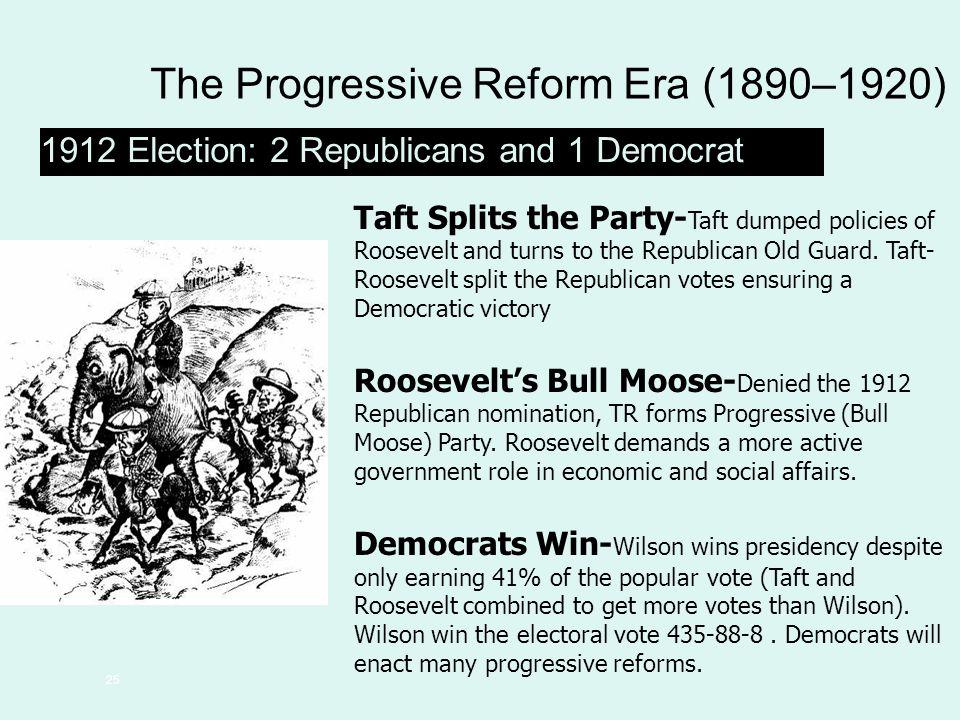 25 The Progressive Reform Era (1890–1920) 1912 Election: 2 Republicans and 1 Democrat Taft Splits the Party- Taft dumped policies of Roosevelt and tur