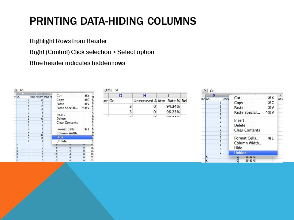 PRINTING DATA-HIDING COLUMNS Highlight Rows from Header Right (Control) Click selection > Select option Blue header indicates hidden rows