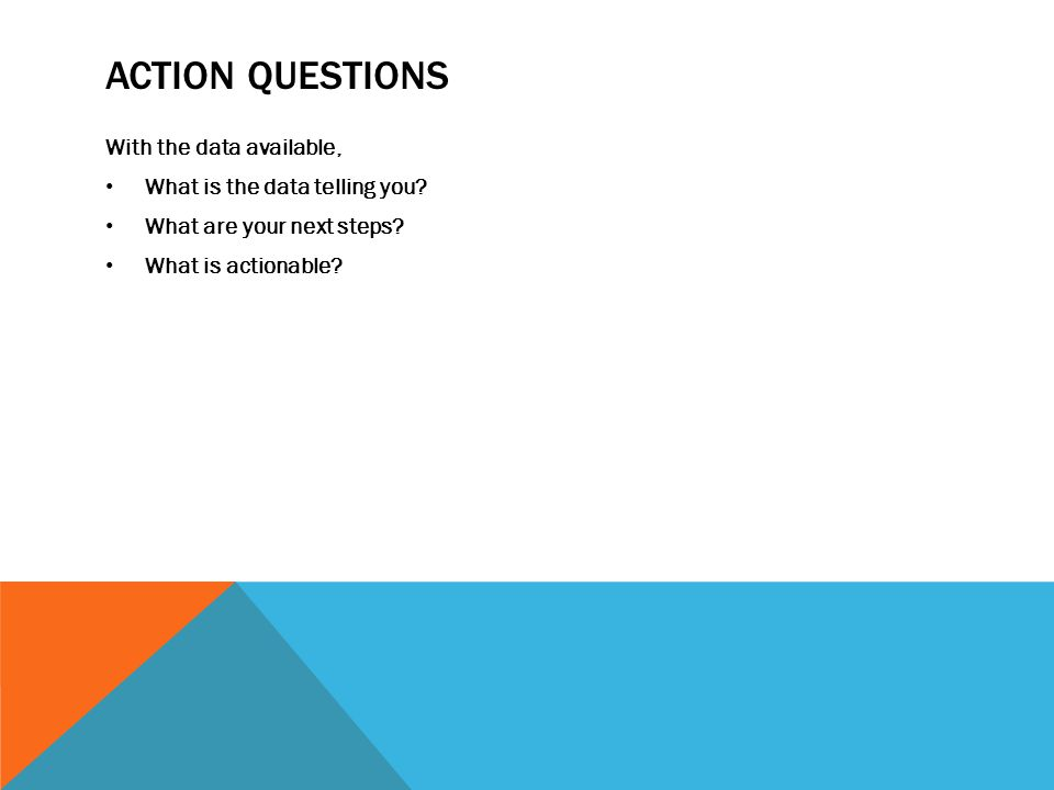 ACTION QUESTIONS With the data available, What is the data telling you.
