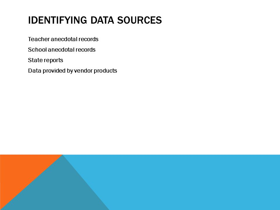 IDENTIFYING DATA SOURCES Teacher anecdotal records School anecdotal records State reports Data provided by vendor products