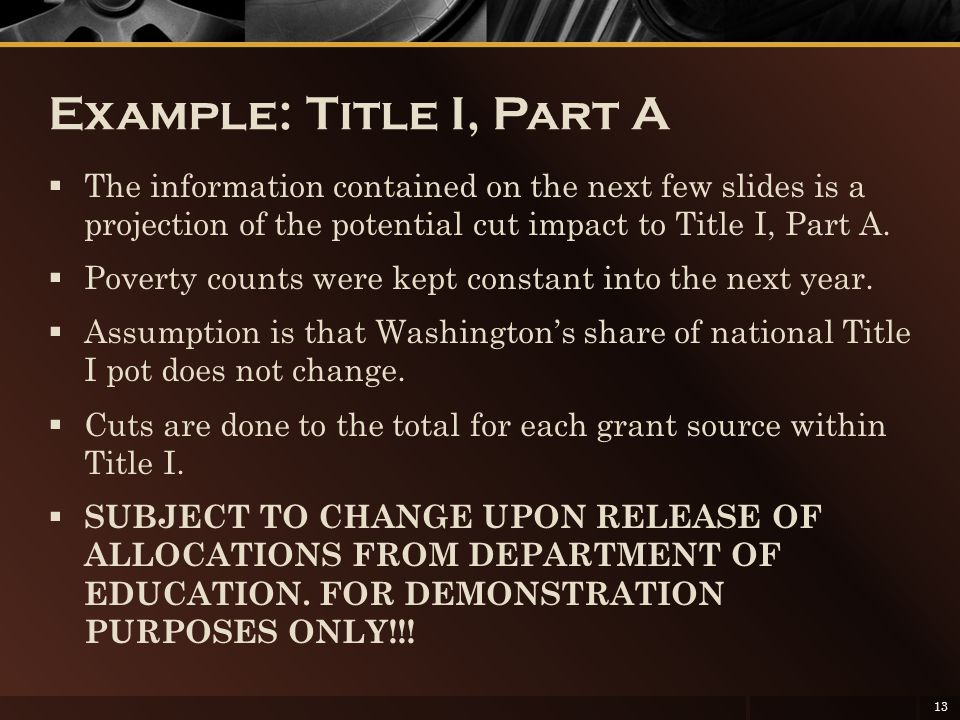 Example: Title I, Part A  The information contained on the next few slides is a projection of the potential cut impact to Title I, Part A.