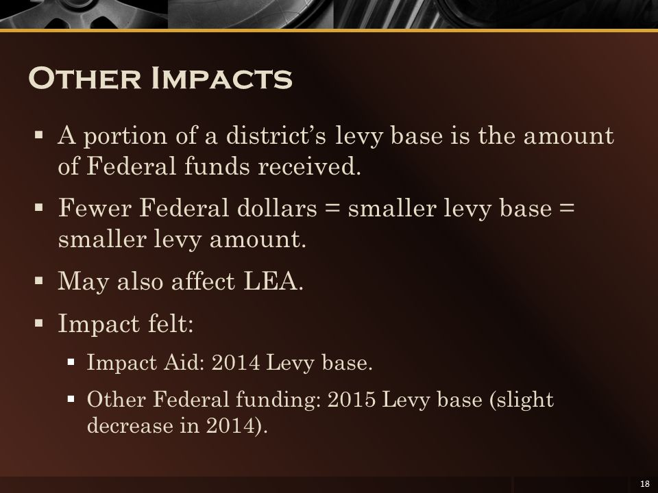 Other Impacts  A portion of a district's levy base is the amount of Federal funds received.  Fewer Federal dollars = smaller levy base = smaller lev