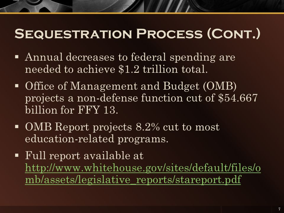 Sequestration Process (Cont.)  Annual decreases to federal spending are needed to achieve $1.2 trillion total.