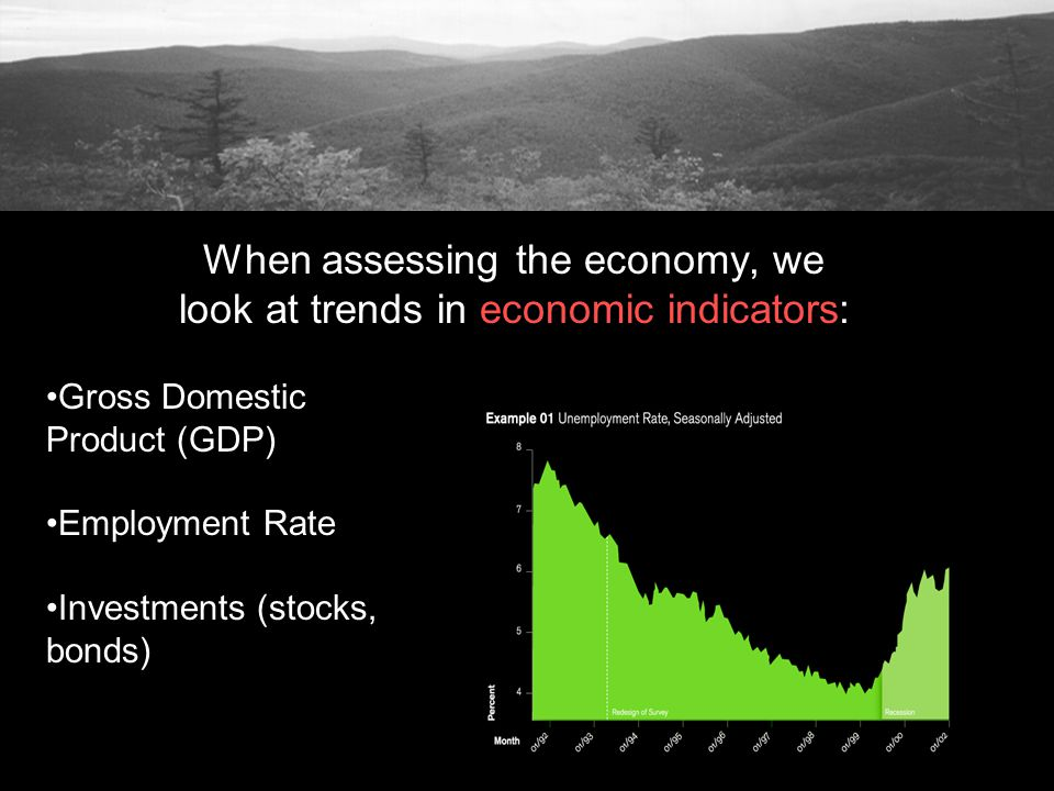 Gross Domestic Product (GDP) Employment Rate Investments (stocks, bonds)