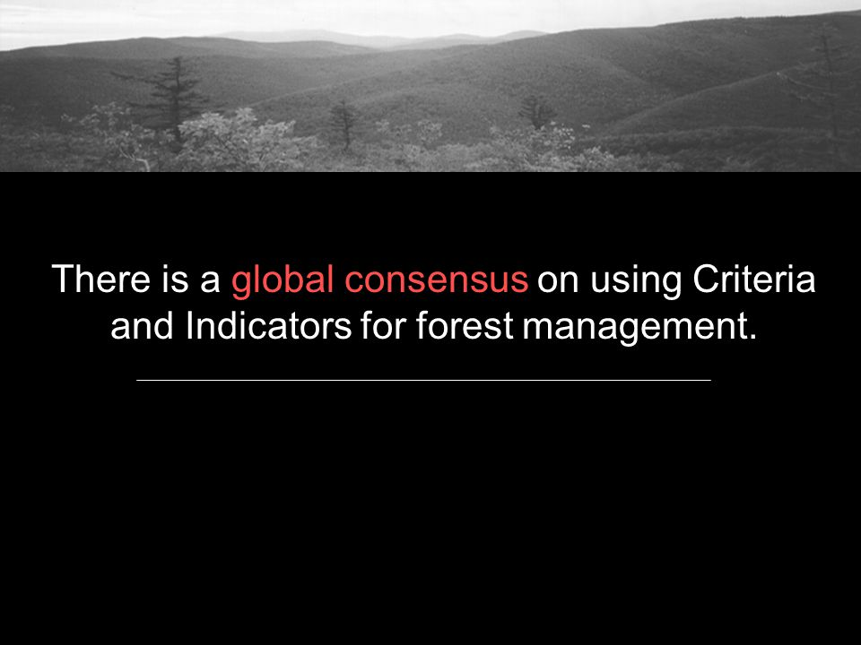 There is a global consensus on using Criteria and Indicators for forest management.
