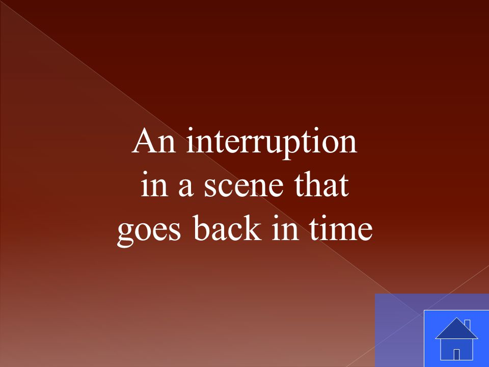 An interruption in a scene that goes back in time