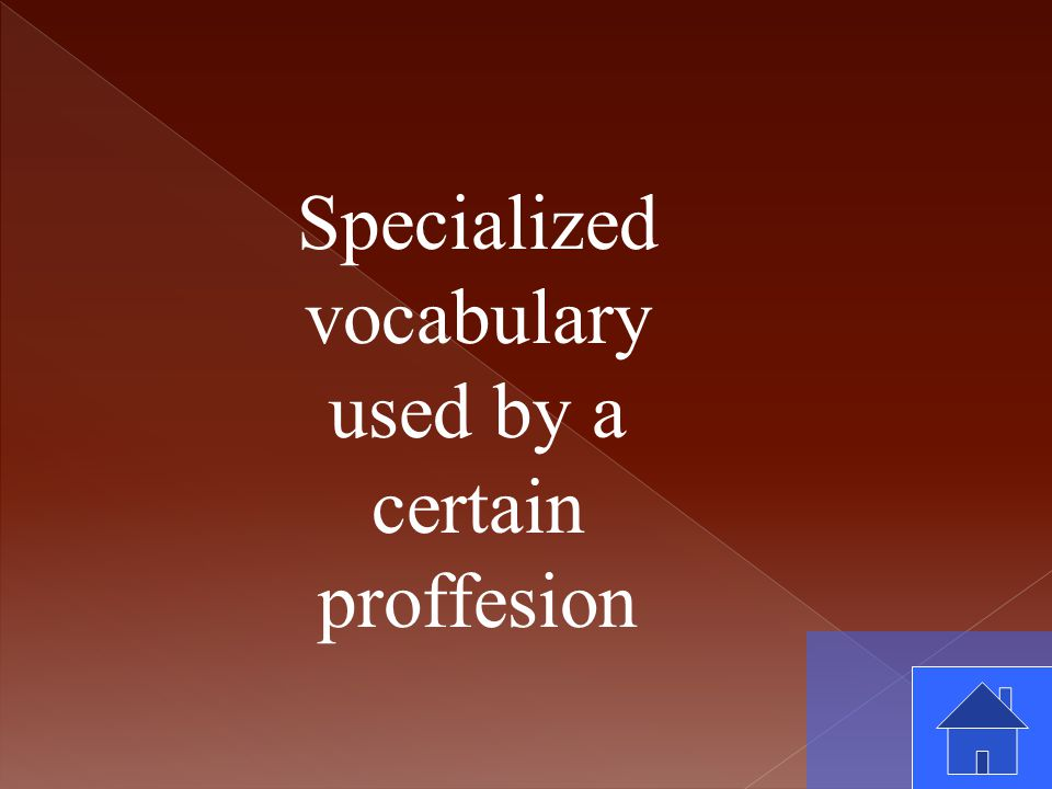 Specialized vocabulary used by a certain proffesion