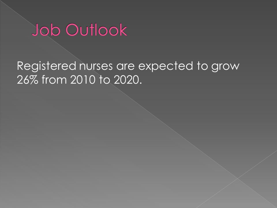 Registered nurses are expected to grow 26% from 2010 to 2020.