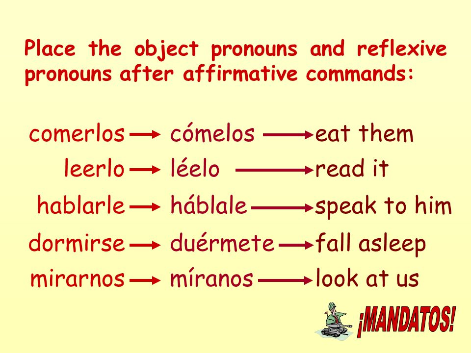 Place the object pronouns and reflexive pronouns after affirmative commands: comerloscómeloseat them leerlo mirarnos dormirse hablarle míranos léelo h