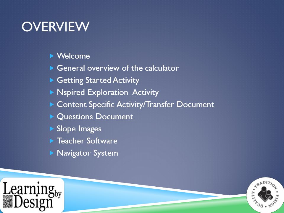 OVERVIEW  Welcome  General overview of the calculator  Getting Started Activity  Nspired Exploration Activity  Content Specific Activity/Transfer Document  Questions Document  Slope Images  Teacher Software  Navigator System