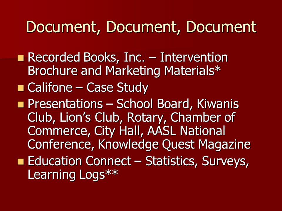 Document, Document, Document Recorded Books, Inc.