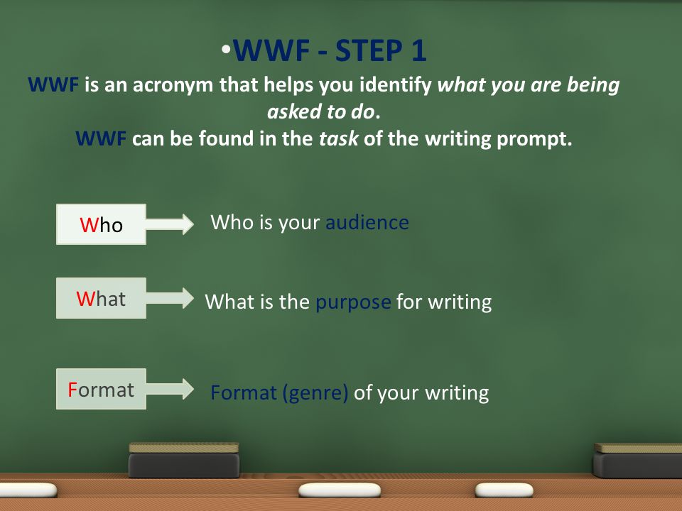 WWF - STEP 1 WWF is an acronym that helps you identify what you are being asked to do. WWF can be found in the task of the writing prompt. Who is your