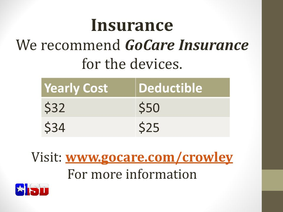 Insurance We recommend GoCare Insurance for the devices.