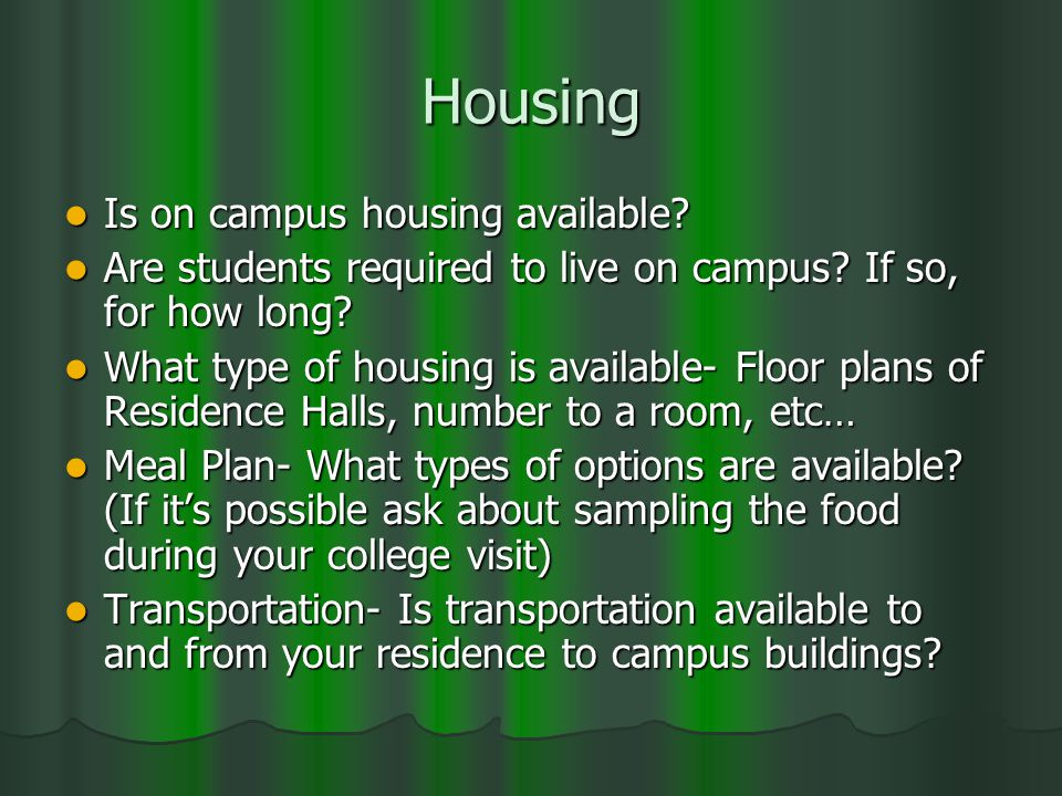 Housing Is on campus housing available. Is on campus housing available.