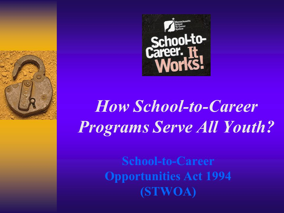 How School-to-Career Programs Serve All Youth School-to-Career Opportunities Act 1994 (STWOA)