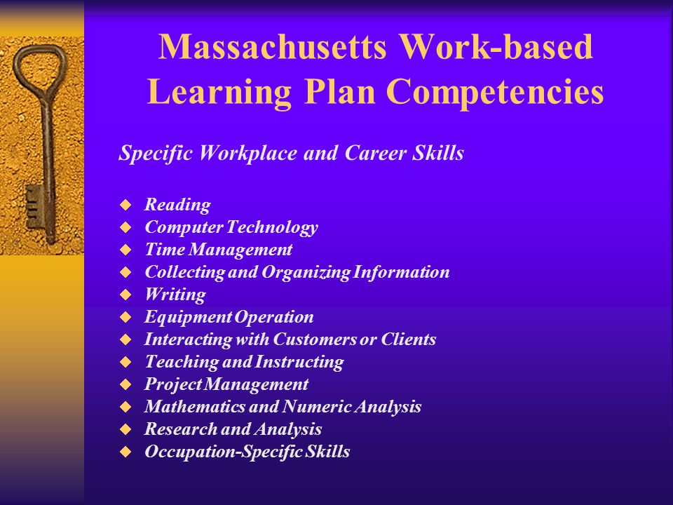 Massachusetts Work-based Learning Plan Competencies Specific Workplace and Career Skills  Reading  Computer Technology  Time Management  Collecting and Organizing Information  Writing  Equipment Operation  Interacting with Customers or Clients  Teaching and Instructing  Project Management  Mathematics and Numeric Analysis  Research and Analysis  Occupation-Specific Skills
