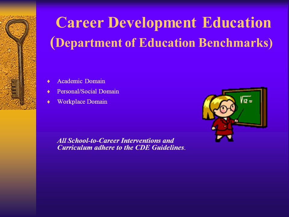 Career Development Education ( Department of Education Benchmarks)  Academic Domain  Personal/Social Domain  Workplace Domain All School-to-Career Interventions and Curriculum adhere to the CDE Guidelines.
