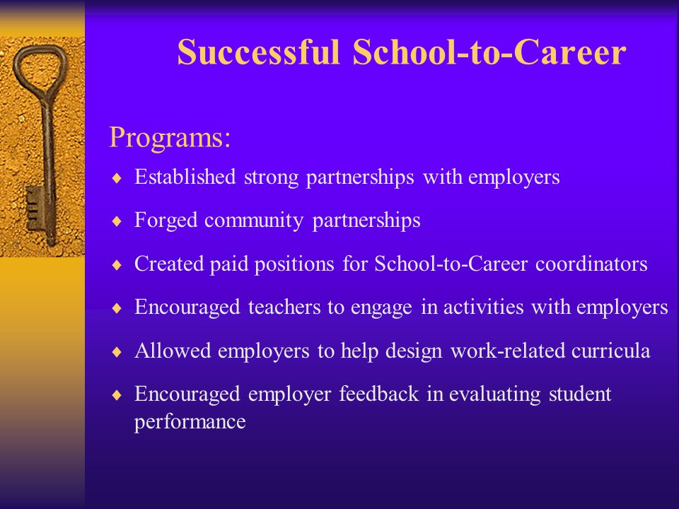 Successful School-to-Career Programs:  Established strong partnerships with employers  Forged community partnerships  Created paid positions for School-to-Career coordinators  Encouraged teachers to engage in activities with employers  Allowed employers to help design work-related curricula  Encouraged employer feedback in evaluating student performance