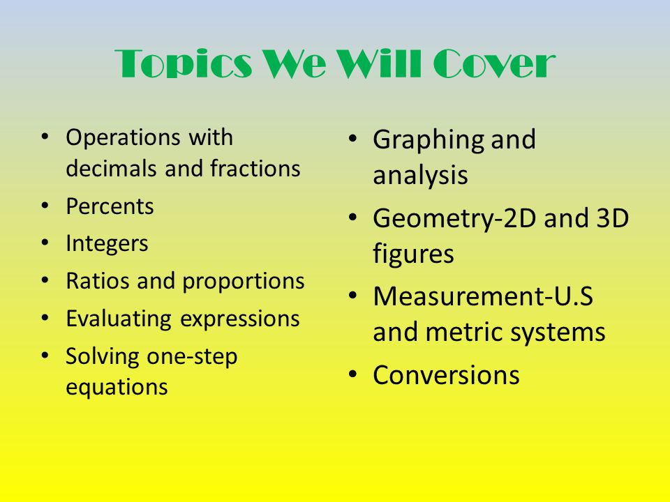 Topics We Will Cover Operations with decimals and fractions Percents Integers Ratios and proportions Evaluating expressions Solving one-step equations Graphing and analysis Geometry-2D and 3D figures Measurement-U.S and metric systems Conversions