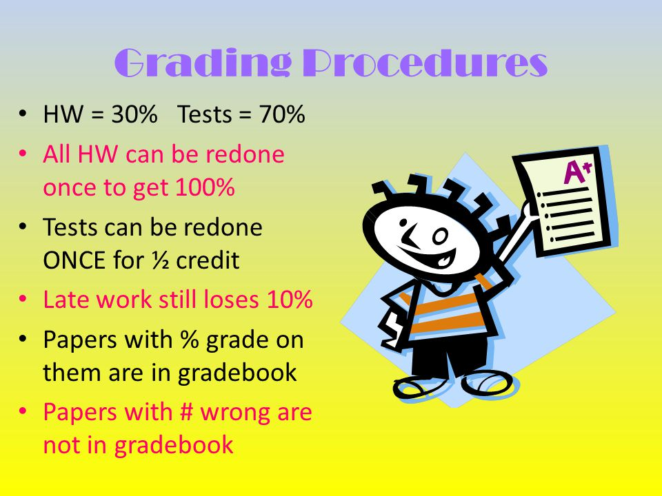 Grading Procedures HW = 30% Tests = 70% All HW can be redone once to get 100% Tests can be redone ONCE for ½ credit Late work still loses 10% Papers with % grade on them are in gradebook Papers with # wrong are not in gradebook