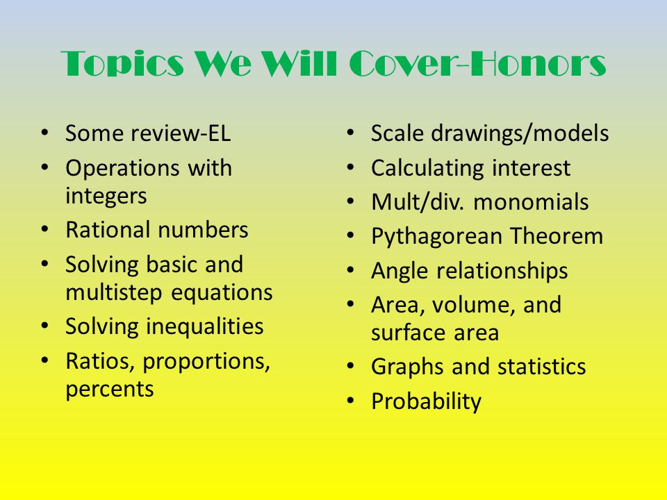 Topics We Will Cover-Honors Some review-EL Operations with integers Rational numbers Solving basic and multistep equations Solving inequalities Ratios, proportions, percents Scale drawings/models Calculating interest Mult/div.