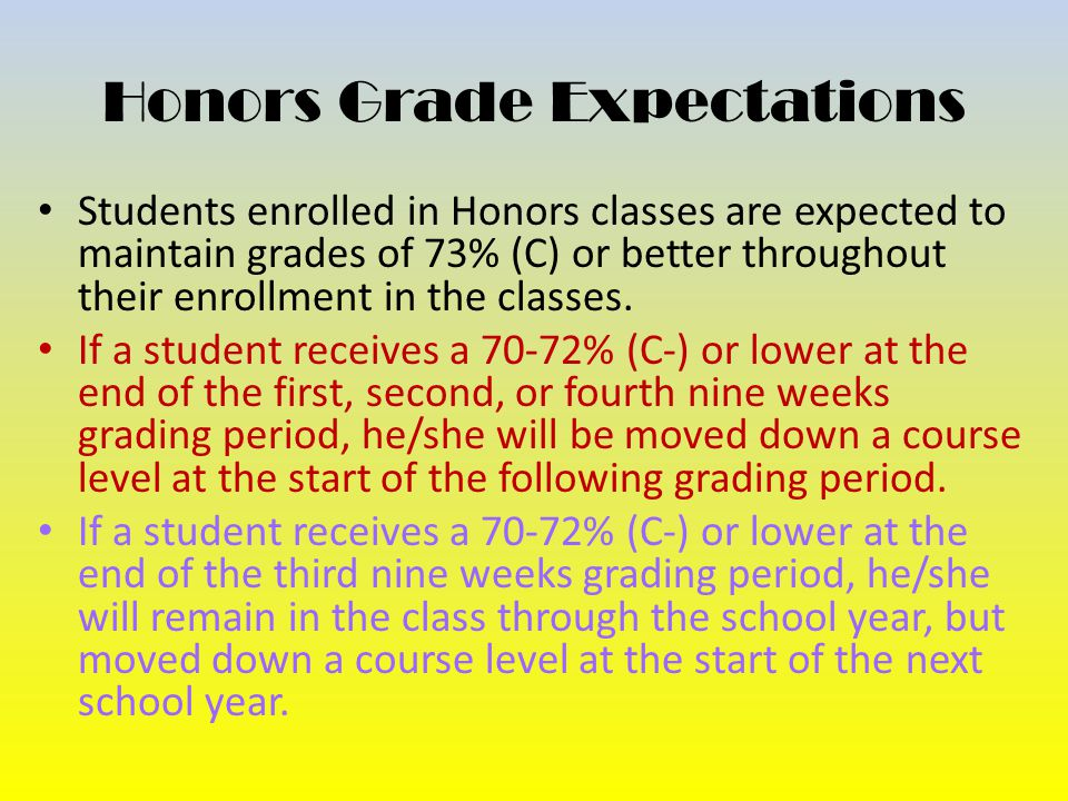 Honors Grade Expectations Students enrolled in Honors classes are expected to maintain grades of 73% (C) or better throughout their enrollment in the classes.