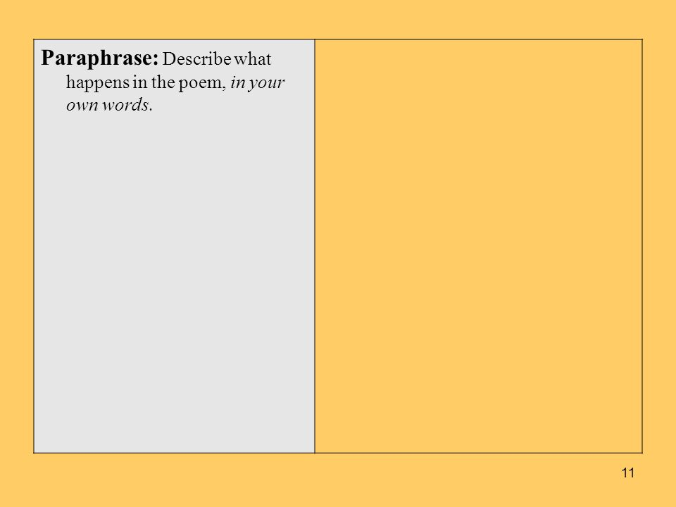 Paraphrase: Describe what happens in the poem, in your own words. 11