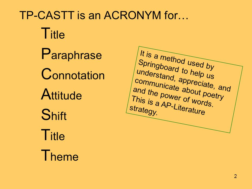 TP-CASTT is an ACRONYM for… T itle P araphrase C onnotation A ttitude S hift T itle T heme It is a method used by Springboard to help us understand, a