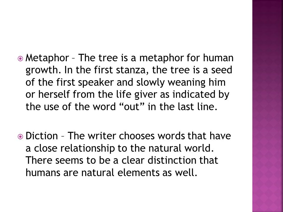  Metaphor – The tree is a metaphor for human growth. In the first stanza, the tree is a seed of the first speaker and slowly weaning him or herself f