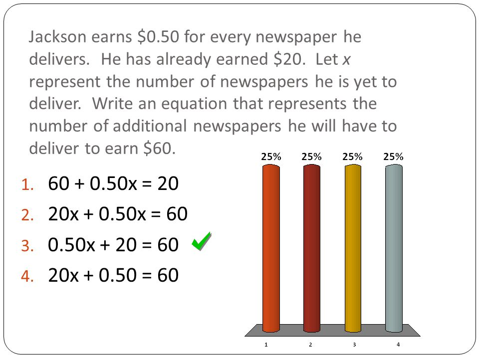Jackson earns $0.50 for every newspaper he delivers.
