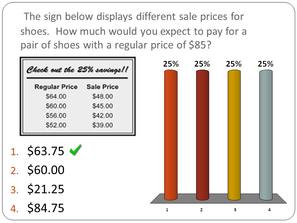 The sign below displays different sale prices for shoes.