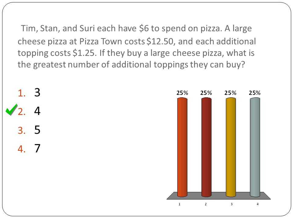 Tim, Stan, and Suri each have $6 to spend on pizza.