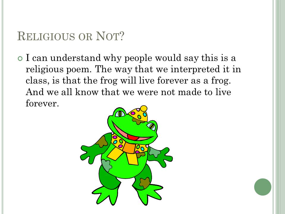 R ELIGIOUS OR N OT . I can understand why people would say this is a religious poem.