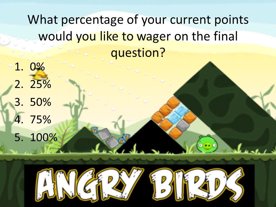 What percentage of your current points would you like to wager on the final question? 1.0% 2.25% 3.50% 4.75% 5.100%