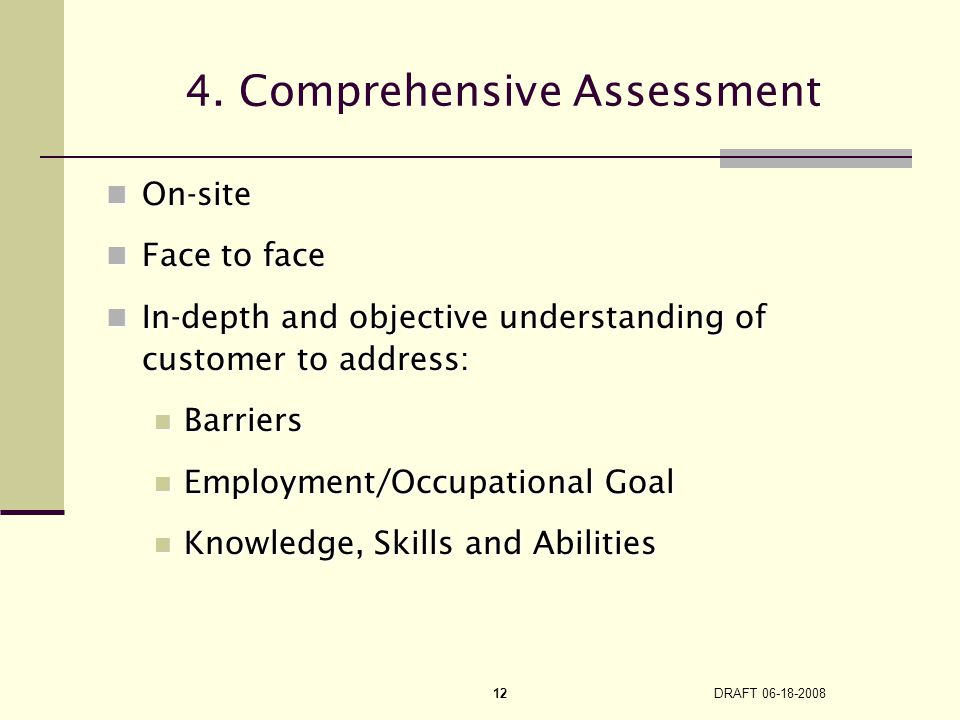 DRAFT 06-18-2008 12 4. Comprehensive Assessment On-site On-site Face to face Face to face In-depth and objective understanding of customer to address:
