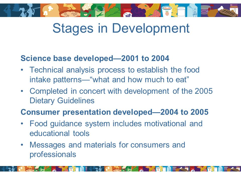 """Stages in Development Science base developed—2001 to 2004 Technical analysis process to establish the food intake patterns—""""what and how much to eat"""""""