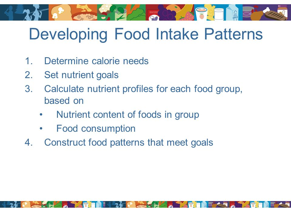 Developing Food Intake Patterns 1.Determine calorie needs 2.Set nutrient goals 3.Calculate nutrient profiles for each food group, based on Nutrient co