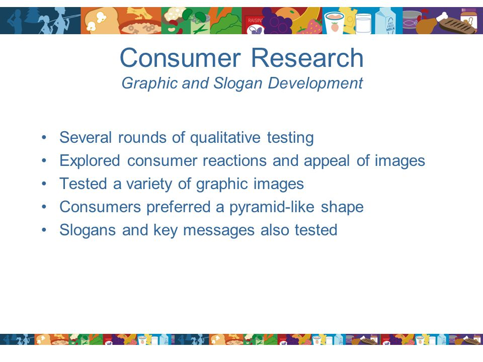 Consumer Research Graphic and Slogan Development Several rounds of qualitative testing Explored consumer reactions and appeal of images Tested a varie