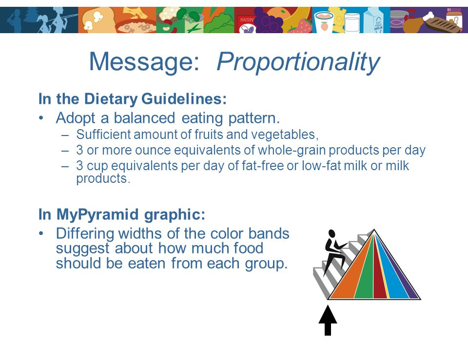 Message: Proportionality In the Dietary Guidelines: Adopt a balanced eating pattern. –Sufficient amount of fruits and vegetables, –3 or more ounce equ