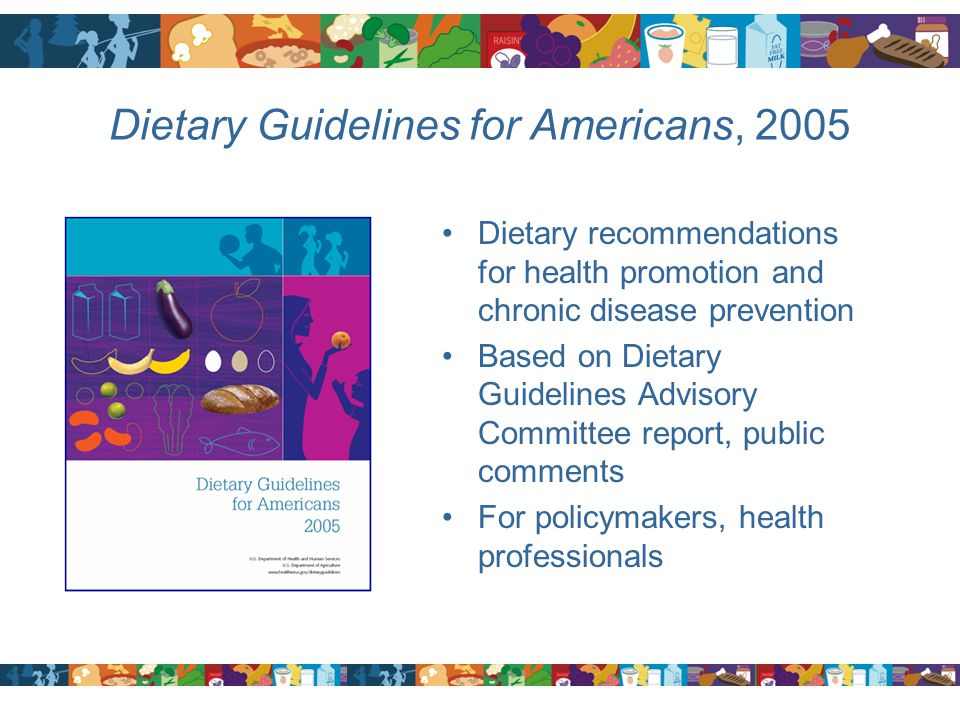 Dietary Guidelines for Americans, 2005 Dietary recommendations for health promotion and chronic disease prevention Based on Dietary Guidelines Advisor