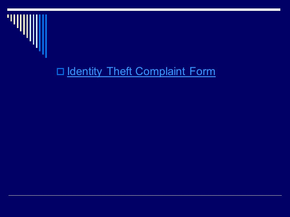  Identity Theft Complaint Form Identity Theft Complaint Form