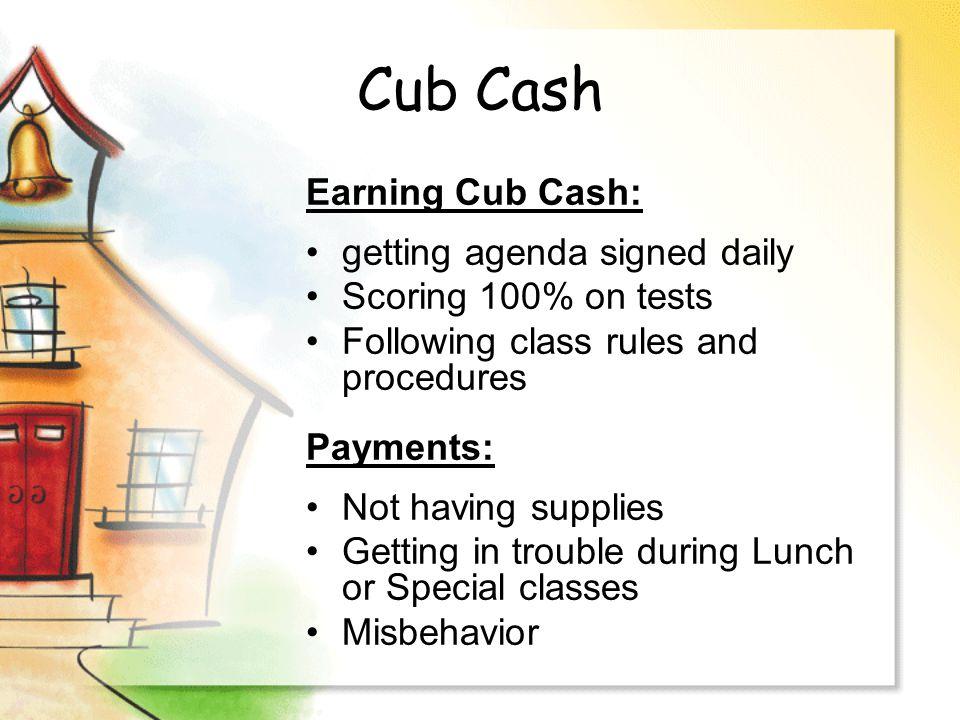Detention Not having cub cash.Misbehavior.