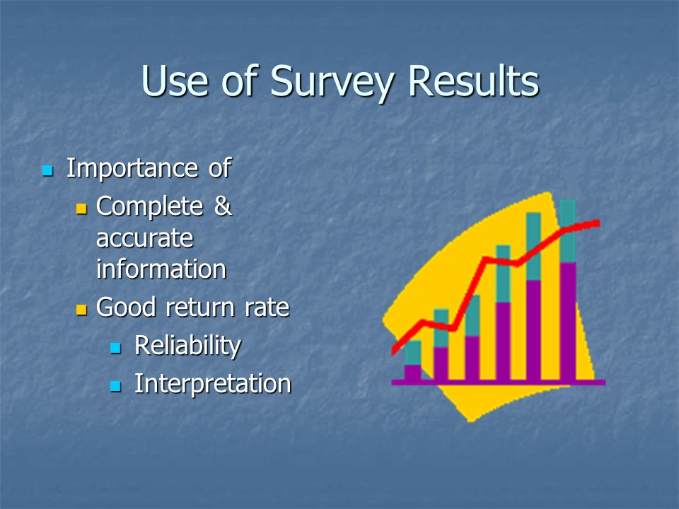 Use of Survey Results Importance of Importance of Complete & accurate information Complete & accurate information Good return rate Good return rate Reliability Reliability Interpretation Interpretation