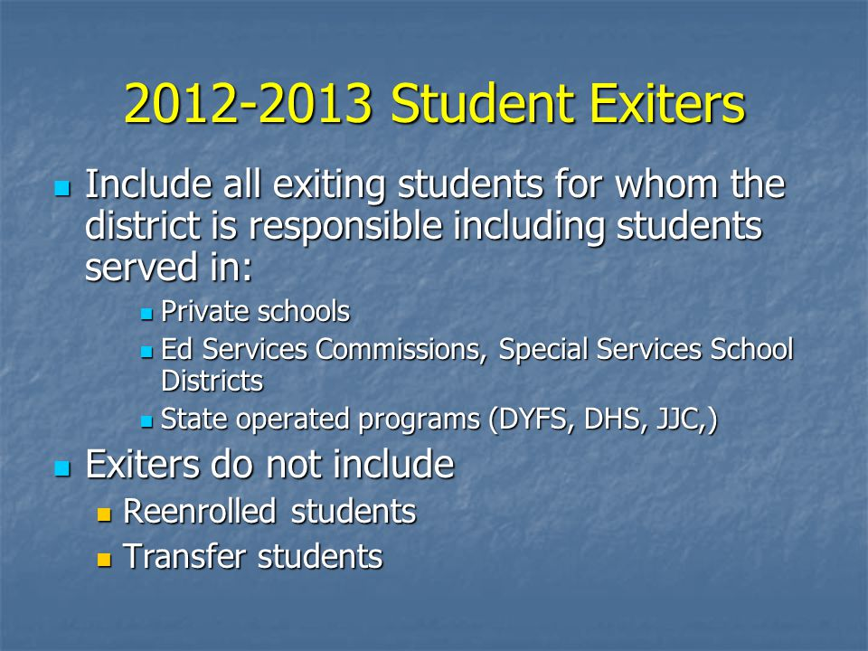 2012-2013 Student Exiters Include all exiting students for whom the district is responsible including students served in: Include all exiting students