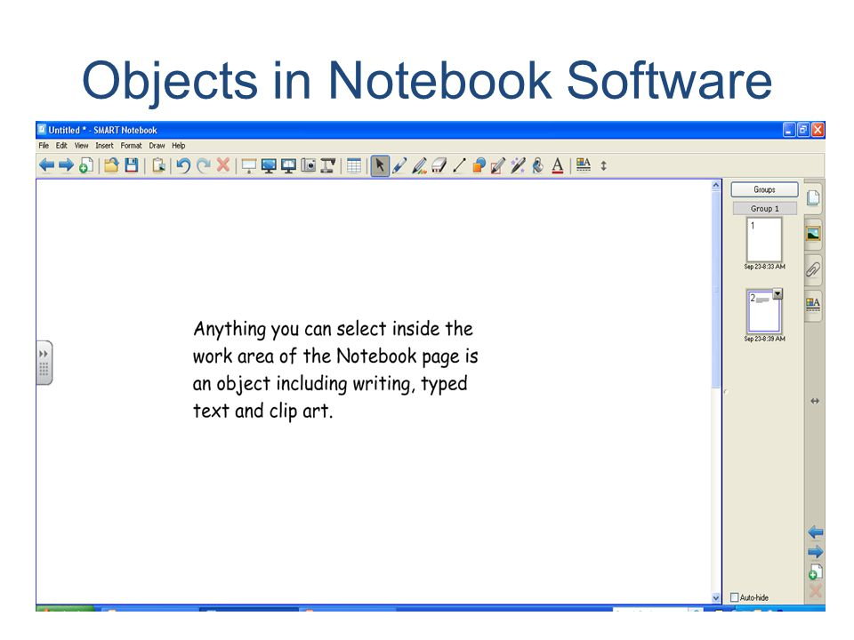 Objects in Notebook Software