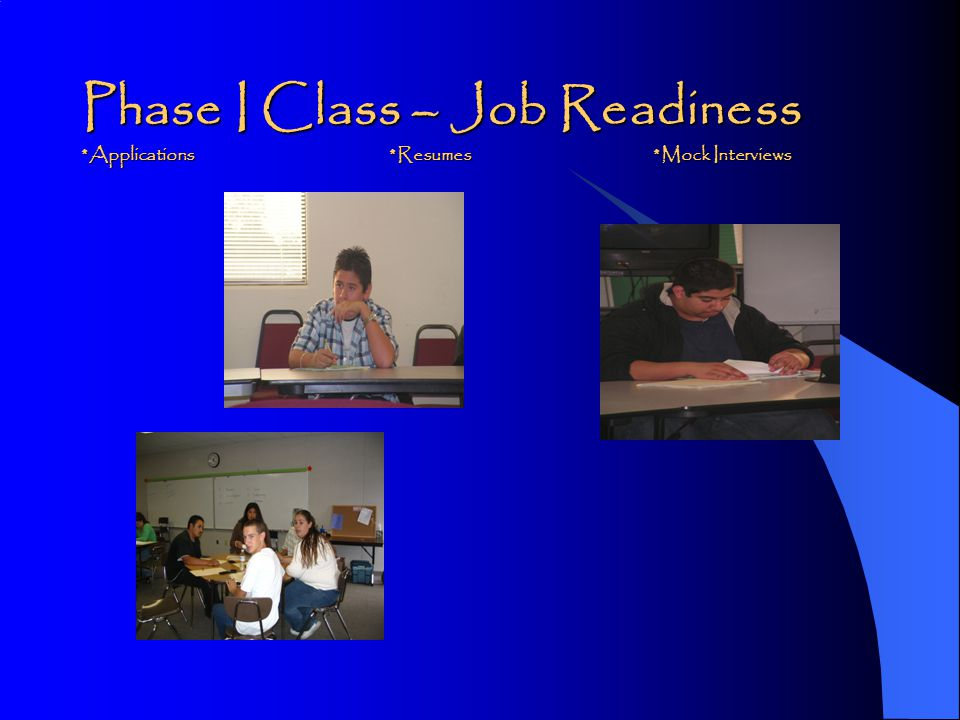 Phase I WEEK 1 (Orientation, Pre-Application, Character Development & Personal Understanding) WEEK 2 (Career Planning/Decision Making and Occupational Information) WEEK 3 (Labor Market Knowledge, Work Skills, Work Habits) *Case Managers will complete registration between Week 2 and Week 3 WEEK 4 (World of Work, Job Search Techniques, Using the Phone, Work Attitudes) WEEK 5 (Job Search Techniques/Application, Work Skills, Work Habits) WEEK 6 (Resumes, Cover Letters, References) WEEK 7 (Resumes, Mock Interviews, Follow-up Letters) WEEK 8 (Interviewing, Worksite Preparation, Work Skills, Habits and Attitudes )
