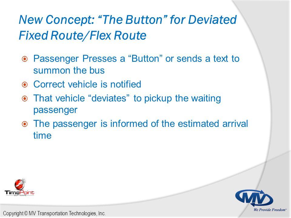 "Copyright © MV Transportation Technologies, Inc. New Concept: ""The Button"" for Deviated Fixed Route/Flex Route  Passenger Presses a ""Button"" or sends"