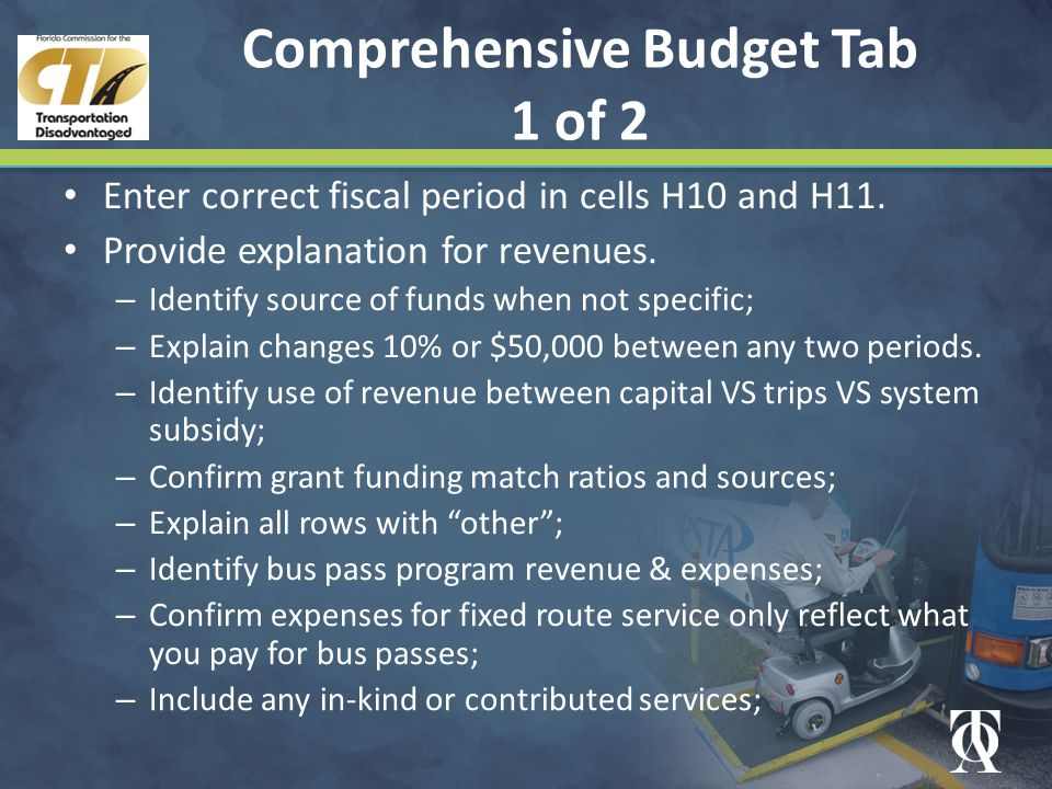 Comprehensive Budget Tab 1 of 2 Enter correct fiscal period in cells H10 and H11.